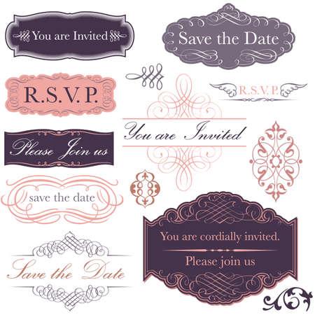 招待状セット - ビクトリア朝の書道のスタイルで行わ招待デザインのコレクション