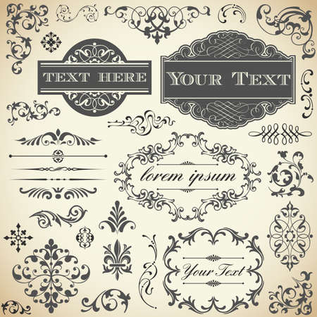 vintage scrolls: Vintage Ornament Set - Collection of Victorian style frames, scrolls and typography ornaments  Illustration