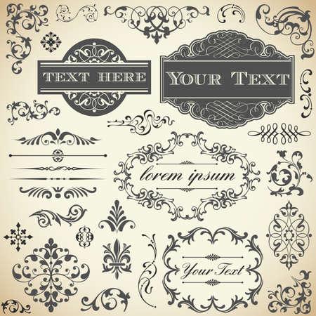 Vintage Ornament Set - Verzameling van Victoriaanse stijl frames, rollen en typografie ornamenten Stock Illustratie