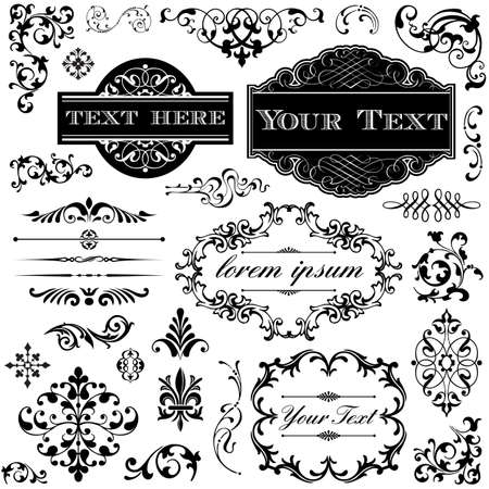 レトロな飾りセット - ビクトリア朝スタイルのフレーム、巻物、タイポグラフィの装飾のコレクション  イラスト・ベクター素材