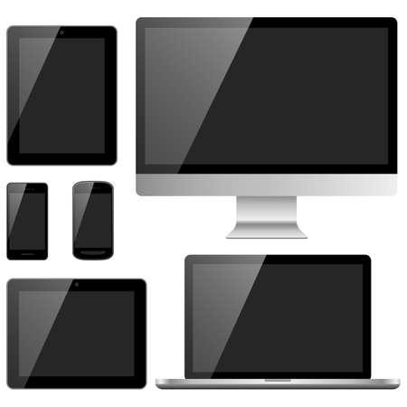 electronic devices: Electronic Devices with Black Screens - Devices include desktop computer, laptop, tablet and mobile phones