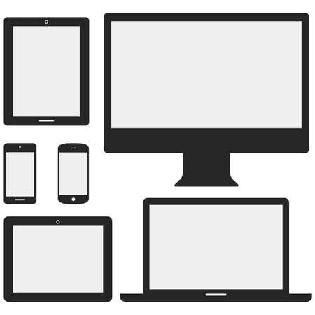 ordinateur bureau: Appareils électroniques avec des écrans blancs - Appareils comprennent les ordinateurs de bureau, ordinateur portable, tablette et téléphones mobiles