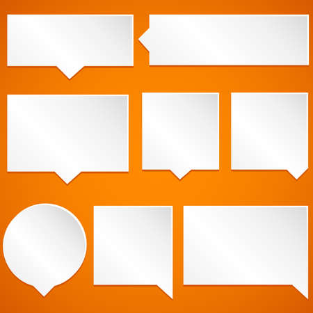 talking: Paper Speech Bubbles - Set of paper speech bubbles isolated on orange background