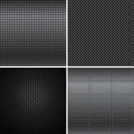 seamless metal: Black Metal Textures - Vector black metal texture backgrounds