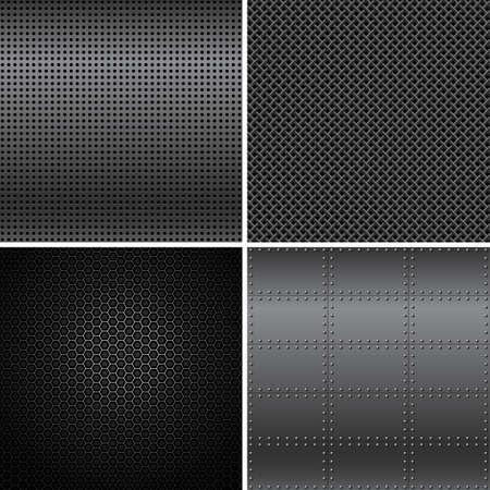 Black Metal Textures - Vector black metal texture backgrounds