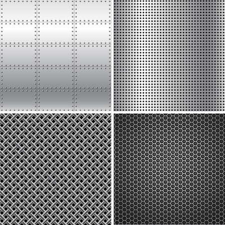 Silver Metal Textures - Vector silver metal texture backgrounds