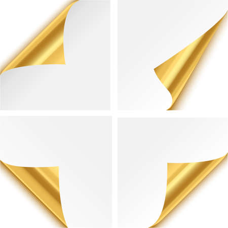 gold corner: Gold Paper Corner Folds - isolated on white background