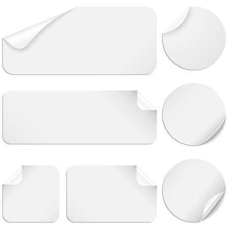 白いステッカー - ホワイト ペーパー ステッカー白い背景で隔離の設定します。  イラスト・ベクター素材