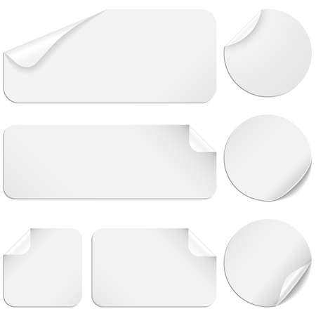White Stickers - Set of white paper stickers isolated on white background
