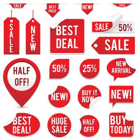판매 태그와 스티커 세트 - 빨간색 판매 태그 흰색 배경에 고립 된 스티커의 집합