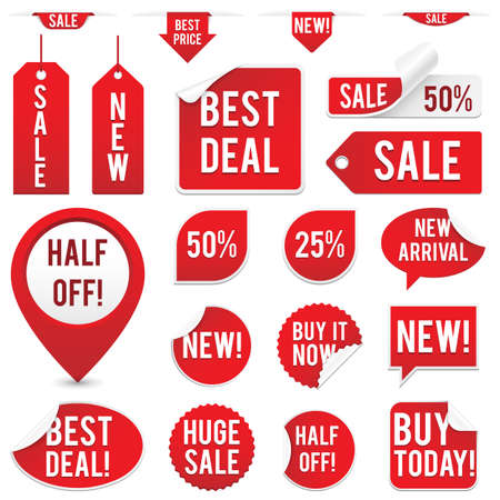 Sale Tags and Stickers Set - Set of red sale tags and stickers isolated on white background
