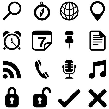 tack: Universal Icons - Set of icons isolated on a white background