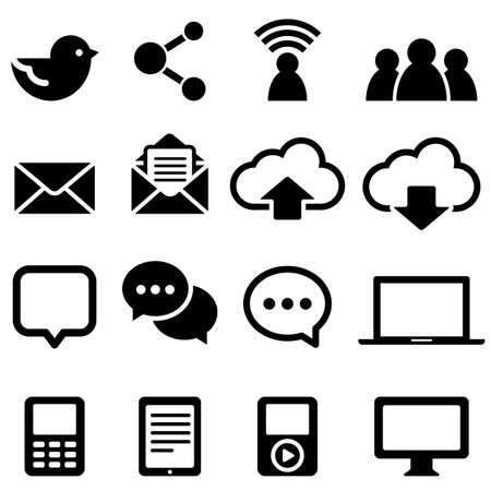 electronic mail: Social Media Icons - Set of icons isolated on a white background Illustration