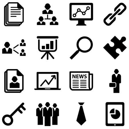 link work: Business Icons - set isolated on a white background