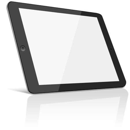 빈 화면 - 흰색 배경에 고립 된 태블릿 파일 계층화 된