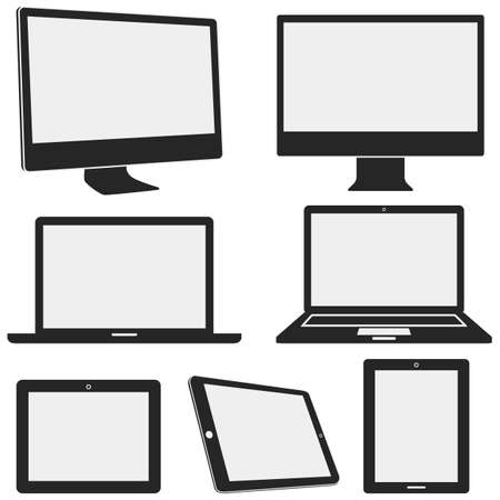 electronic devices: Electronic Device Icons - Set of electronic device icons with different angles, isolated on a white background   Devices include desktop computer, laptop, and tablet