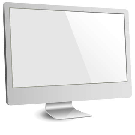silver screen: Silver Computer Monitor with Blank Screen - File is layered