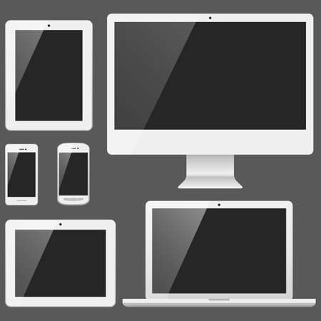 blank tablet: White Electronic Devices with Blank Screens - Devices include desktop computer, laptop, tablet and mobile phones