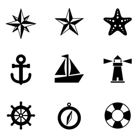 nautical compass: Nautical Icons - A set of 9 nautical-themed icons   Each icon is a separate group  Illustration