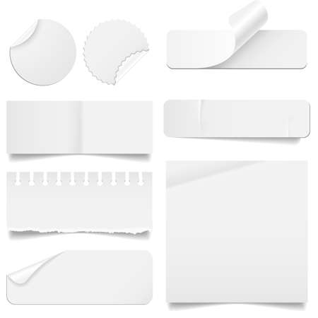rips: Torn and Folded Paper Set - Set of paper elements isolated on a white background   Paper elements have rips, creases and folding corners    Illustration