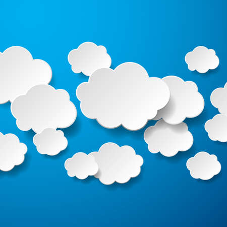 Floating Paper Clouds Background - Vector floating paper clouds on a blue background