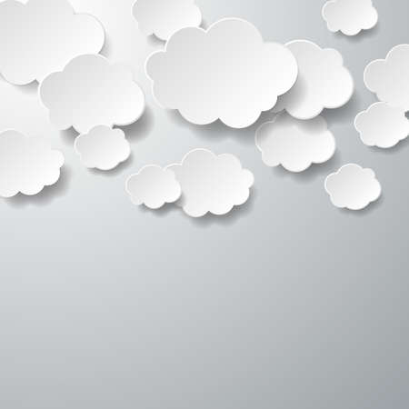 clouds: Floating Paper Clouds Background - Vector floating paper clouds on a gray background