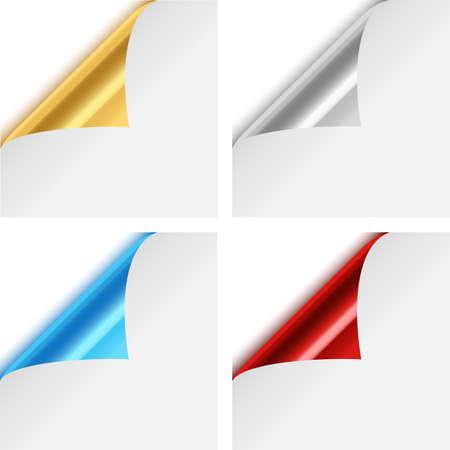 다채로운 금속 종이 코너 주름이 - 4 개의 다채로운, 금속 종이 모서리의 집합 흰색 배경에 고립 된 주름