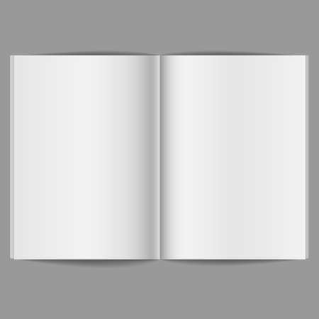 blank magazine: Blank Open Magazine - isolated on a gray background