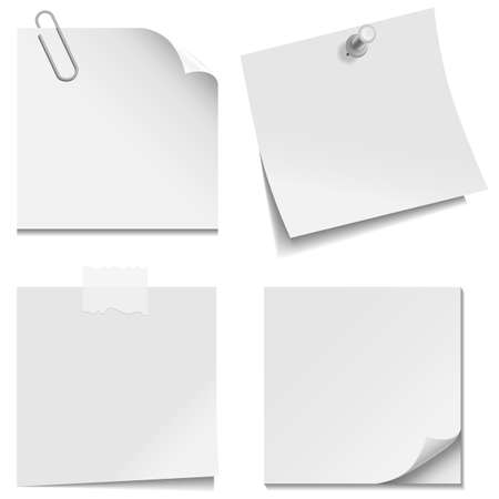 White Paper Notes - Set with paper clip, clear tape, and tack isolated on white background    Vectores