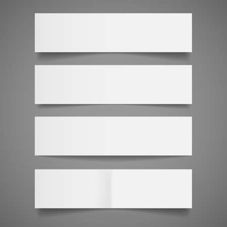 White Paper Banners - Set of blank white paper banners with shadows, isolated on gray background   Vector illustration