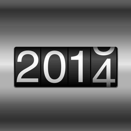 odometer: Metallic 2014 New Year Odometer    Illustration