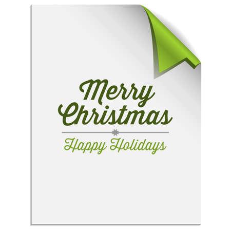 クリスマス ツリー ペーパー コーナーの背景 - 緑のクリスマス ツリーの形をした角を折ると紙  イラスト・ベクター素材