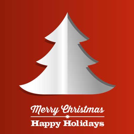 クリスマス ツリーの用紙の背景 - 白赤の背景紙のツリーを折りたたみ 写真素材 - 24330915