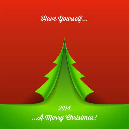 紙のクリスマス ツリー背景 - 緑赤の背景に紙のツリーを折りたたみ、クリスマスの背景