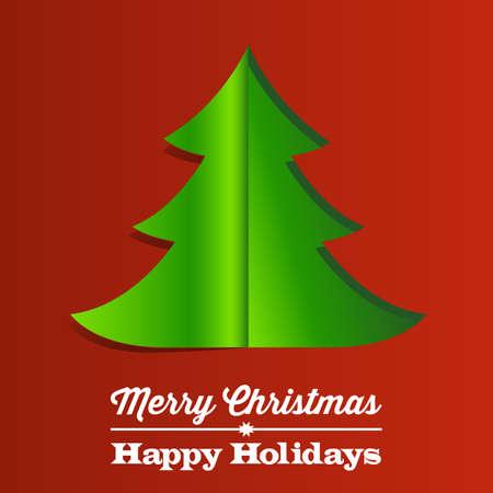 クリスマス ツリー用紙の背景 - 赤と緑の折り畳みペーパー ツリーをクリスマスの背景