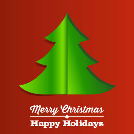 Christmas Tree Paper Background - Red and green Christmas background with folding paper tree Stock Vector - 24330923