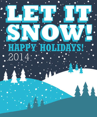 let it snow: Let It Snow Christmas Background - Blue Christmas background design with snow falling over a landscape of trees and hills