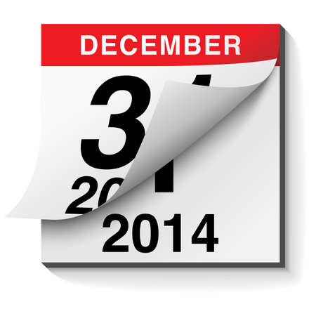 calendar page: Happy New Year 2014 Calendar - background design with page turning from 2013 to 2014
