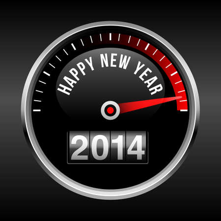 dashboard: Happy New Year 2014 Dashboard Background - with speedometer dial and odometer