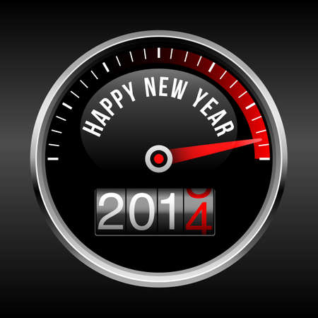 Happy New Year 2014 Dashboard Background - speedometer dial and odometer with rolling red number   EPS10 file with transparency