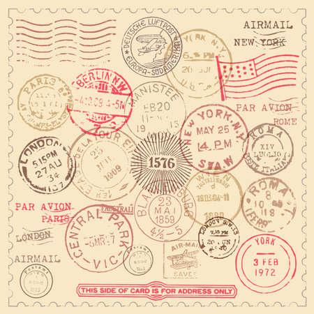 Vintage Postzegels Set - Set van vintage postzegels met frame