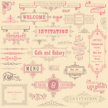 Set of vintage-style frames and ornaments    Vector