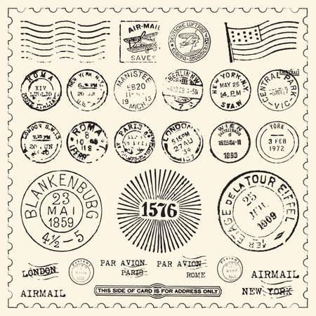 timbre voyage: Collection de timbres cru avec l'armature
