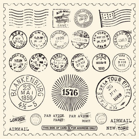 Collection of vintage stamps with frame  Illustration