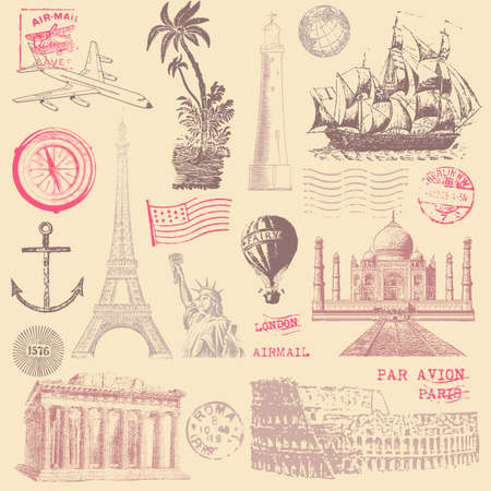 Vintage Travel Design Elements Vector