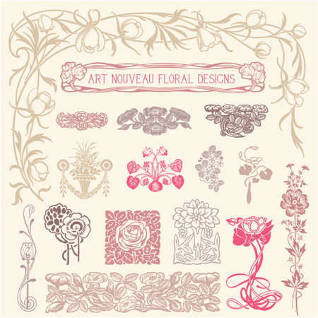 아르누보 꽃 장식품 - 빈티지 꽃 장식품의 집합