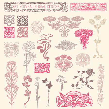 Art Nouveau Floral Ornaments - Set of vintage floral ornaments  Vector