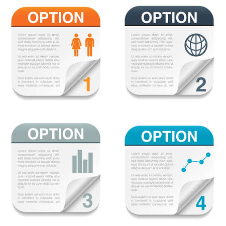 page turn: Option Backgrounds with Folding Paper Corner - Set of four option backgrounds with infographic icons and folding paper corner   Isolated on white background   Eps10 file with transparency  Illustration