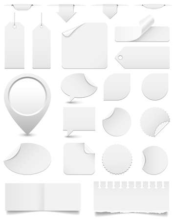 White Paper Tags and Stickers Set - Huge set of white paper tags, stickers and speech bubbles isolated on white background   Eps10 file with transparency  Ilustração