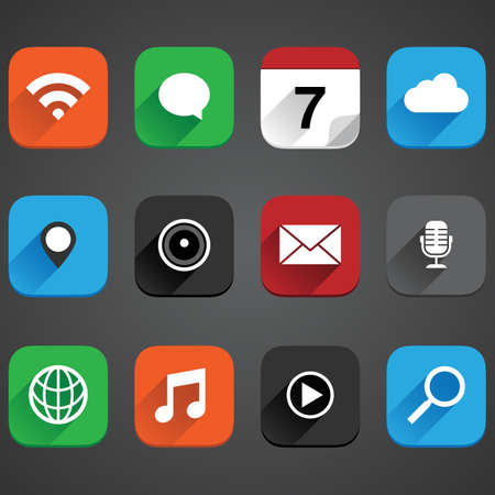 Flat App Icon Set - Vector app icon set in a flat style with shadows  Illustration